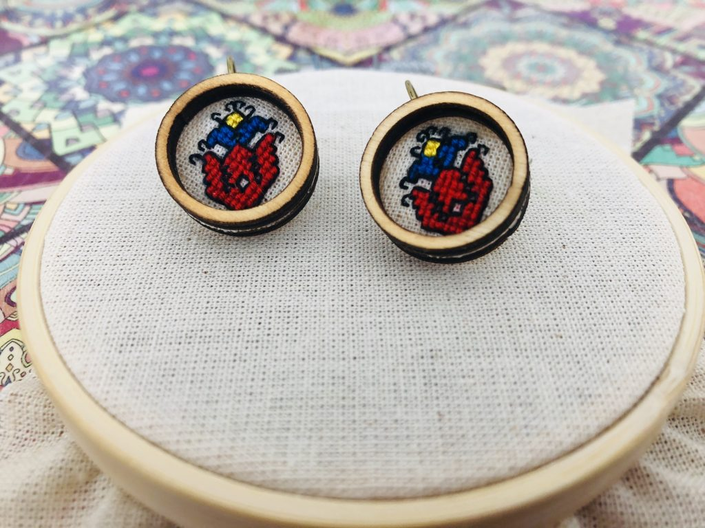 Earrings with Bulgarian embroidery