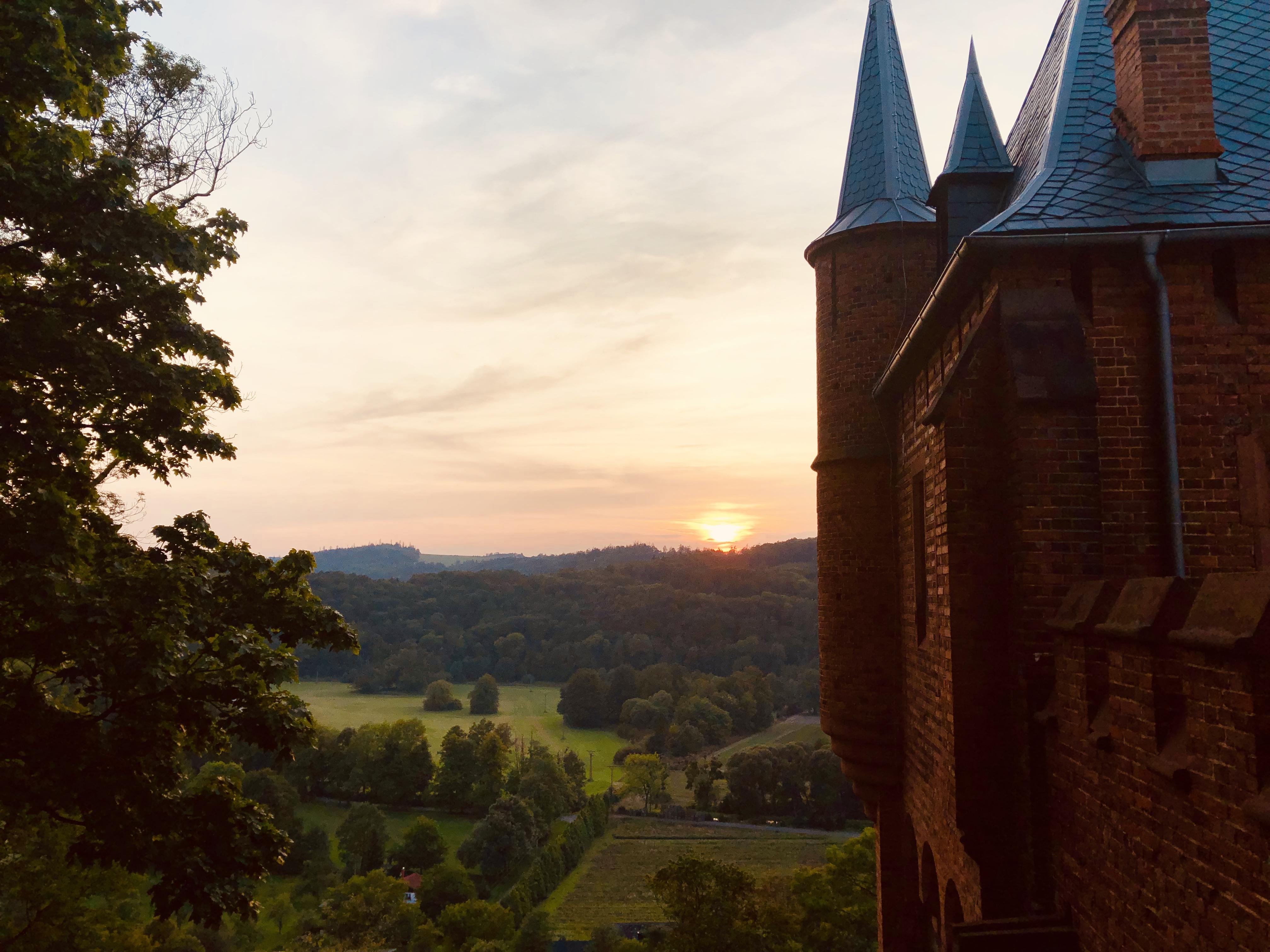 Sunset over Hradec nad Moravici Castle