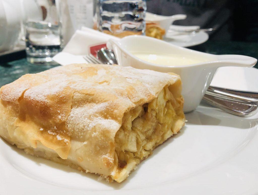 Favourite international dessert - Vienese coffee and strudel